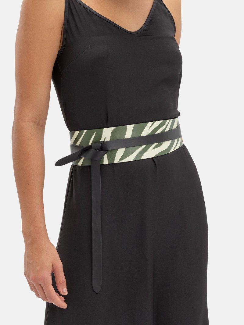 custom dress belt on model